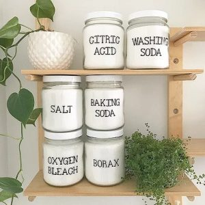 Figgy and Co natural eco cleaners label set storage decor _ dry ingredients