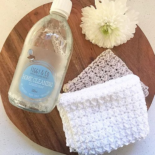 Figgy and Co natural eco cleaners natural dish cloth cotton handmade