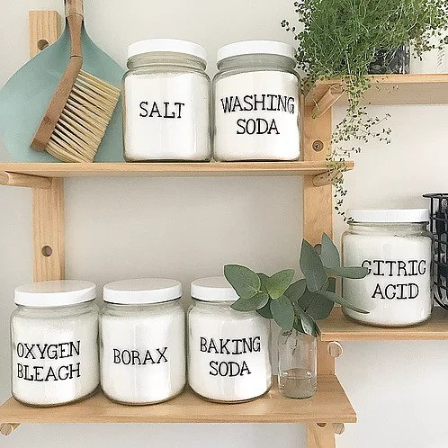 Figgy and Co labels glass storage jars decor natural nontoxic eco green cleaners DIY