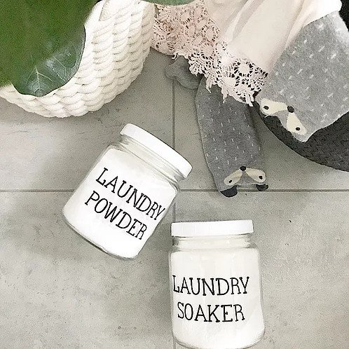 Figgy and Co glass storage jar laundry labels natural nontoxic eco green cleaners DIY nz