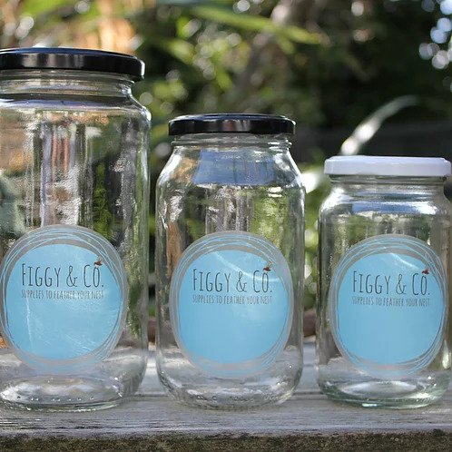 Figgy and Co natural eco cleaners DIY labels glass jar storage