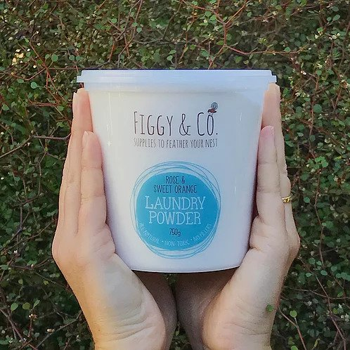 Figgy and Co natural nontoxic eco cleaning nz Laundry powder_Rose and sweet orange_750g